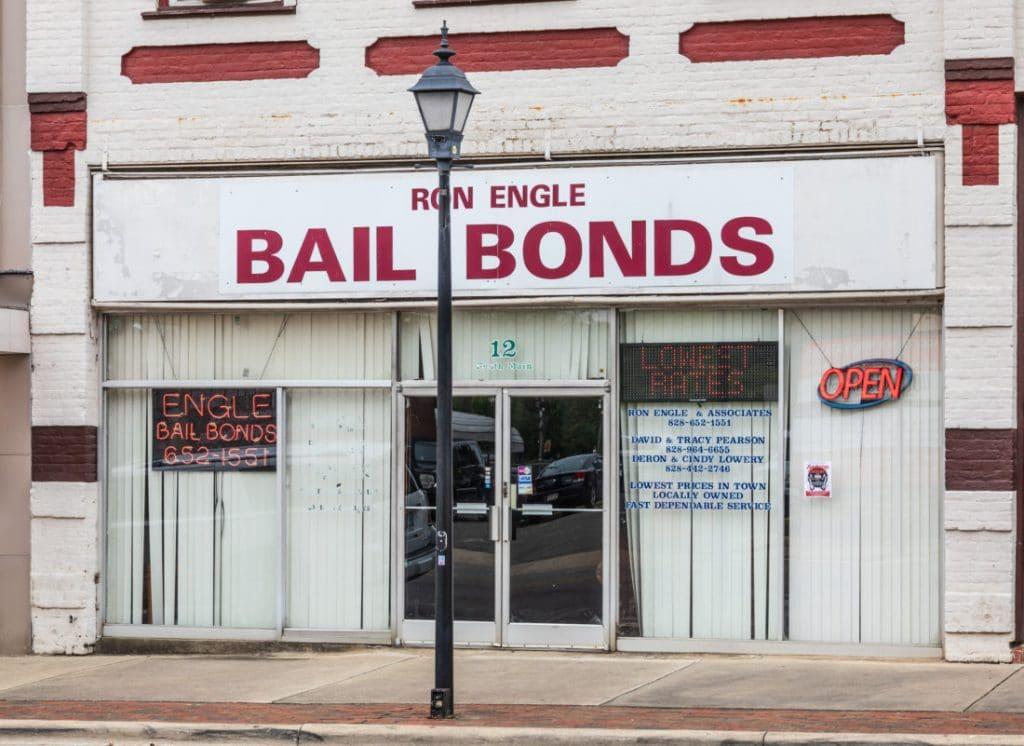 Marion, NC, USA-15 Oct 2019: A Bail bondsmen's office front.